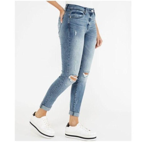 KanCan Denim - Kancan Jeans High Rise Hem Detail Mom Jeans 25 3